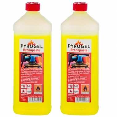 Goedkope 2x brandpasta / gel fles 1 liter barbecue