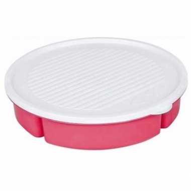 Goedkope 5 vaks serveerschaal deksel roze barbecue