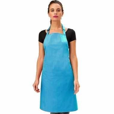 Goedkope basic keukenschort felblauw barbecue