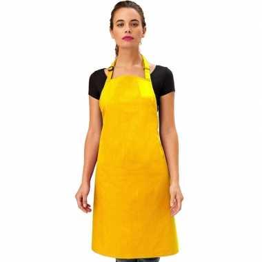 Goedkope basic keukenschort geel barbecue