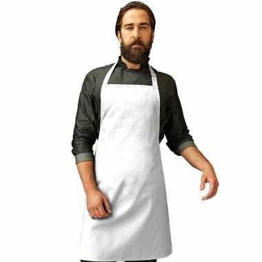 Goedkope basic keukenschort wit barbecue