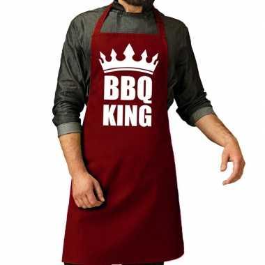 Goedkope bbq king barbecue schort / keukenschort bordeaux rood heren