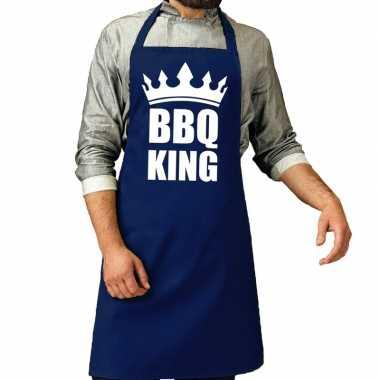 Goedkope bbq king barbecue schort / keukenschort kobalt blauw heren
