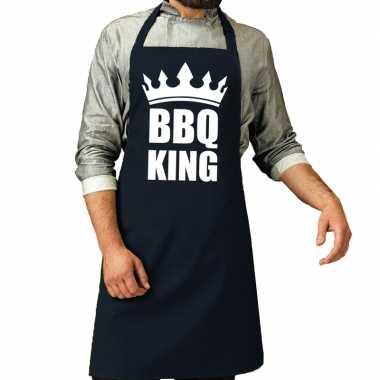 Goedkope bbq king barbecue schort / keukenschort navy heren
