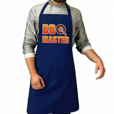 Goedkope bbq master barbecue schort /keukenschort kobalt blauw heren