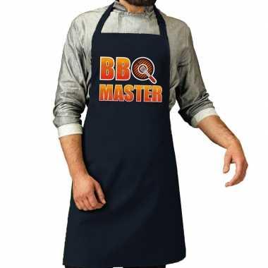 Goedkope bbq master barbecue schort / keukenschort navy heren