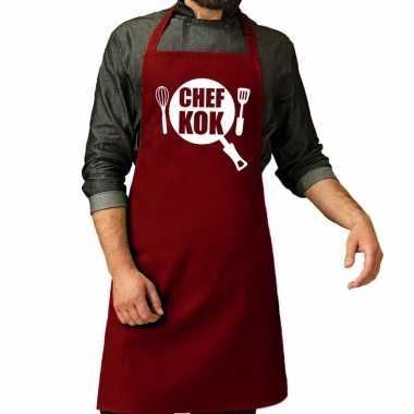 Goedkope chef kok barbecue schort / keukenschort bordeaux rood heren