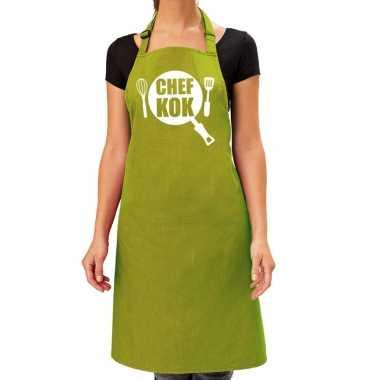 Goedkope chef kok barbecue schort / keukenschort lime groen dames