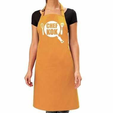 Goedkope chef kok barbecue schort / keukenschort oker geel dames