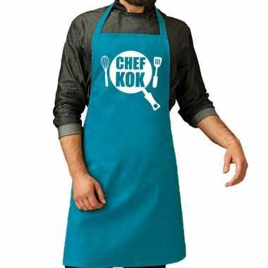 Goedkope chef kok barbecue schort / keukenschort turquoise blauw her