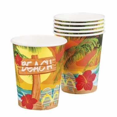 Goedkope hawaii thema bekertjes 6 stuks barbecue