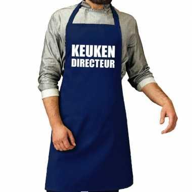 Goedkope keuken directeur barbecue schort / keukenschort kobalt blauw