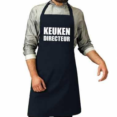 Goedkope keuken directeur barbecue schort / keukenschort navy heren