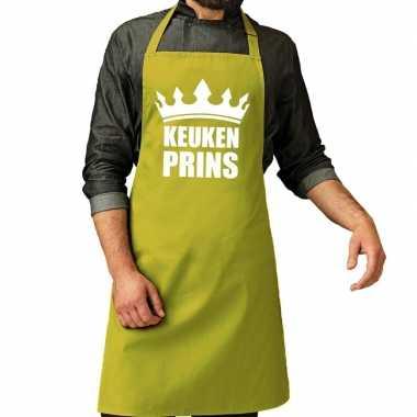 Goedkope keuken prins barbecue schort / keukenschort lime groen heren