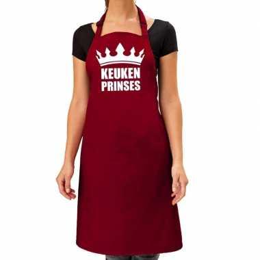 Goedkope keuken prinses barbecue schort / keukenschort bordeaux dames