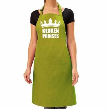 Goedkope keuken prinses barbecue schort / keukenschort lime groen dam
