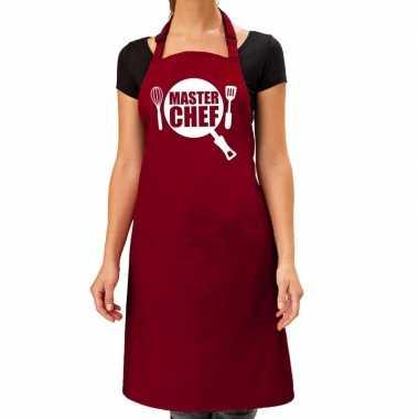 Goedkope master chef barbecue schort / keukenschort bordeaux rood dam