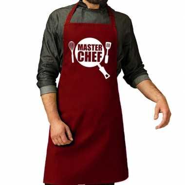 Goedkope master chef barbecue schort / keukenschort bordeaux rood her