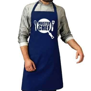 Goedkope master chef barbecue schort / keukenschort kobalt blauw here