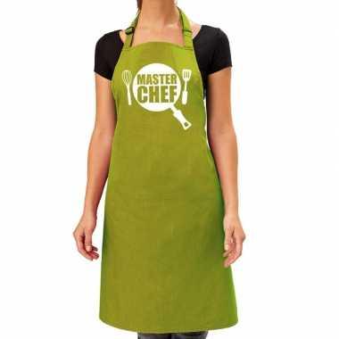 Goedkope master chef barbecue schort / keukenschort lime groen dames