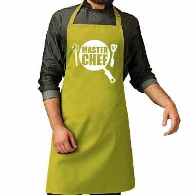 Goedkope master chef barbecue schort / keukenschort lime groen