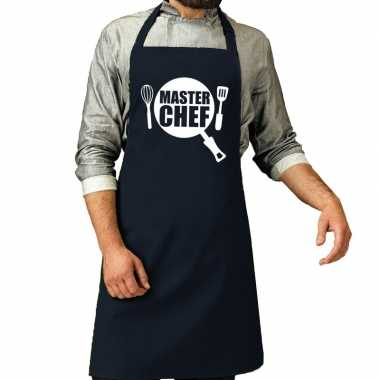 Goedkope master chef barbecue schort / keukenschort navy heren