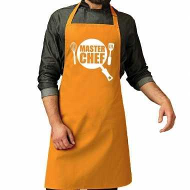 Goedkope master chef barbecue schort / keukenschort oker geel heren