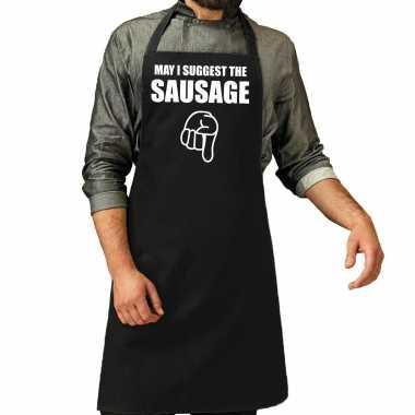 Goedkope may i suggest the sausage cadeau katoenen schort zwart heren barbecue