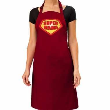 Goedkope super mama barbecue schort / keukenschort bordeaux rood dame