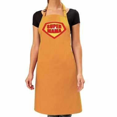 Goedkope super mama barbecue schort / keukenschort oker geel dames