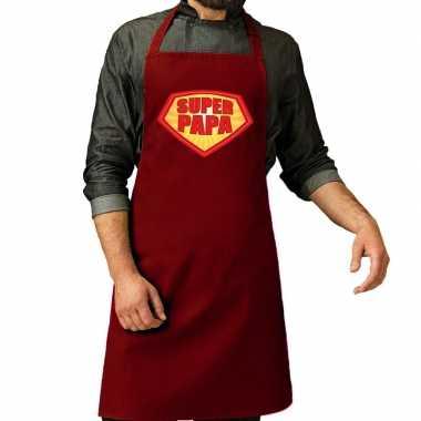Goedkope super papa barbecue schort / keukenschort bordeaux rood her