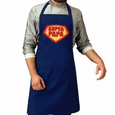 Goedkope super papa barbecue schort /keukenschort kobalt blauw heren