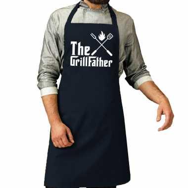 Goedkope the grillfather barbecue / bbq schort navy blauw heren