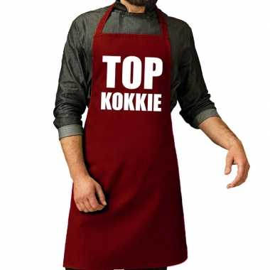 Goedkope top kokkie barbecue schort / keukenschort bordeaux rood her