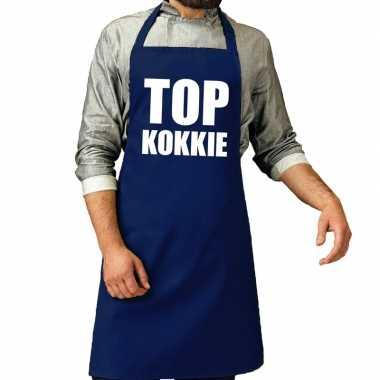 Goedkope top kokkie barbecue schort / keukenschort kobalt heren