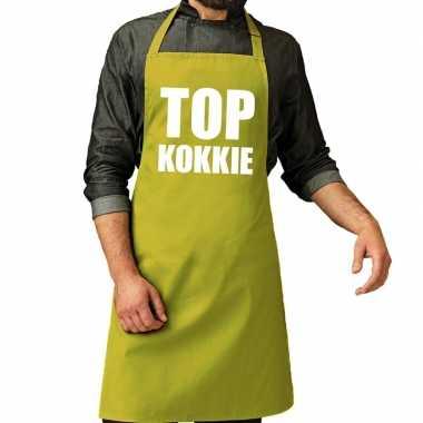 Goedkope top kokkie barbecue schort / keukenschort lime groen heren