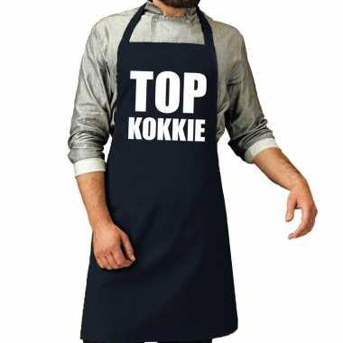 Goedkope top kokkie barbecue schort / keukenschort navy heren