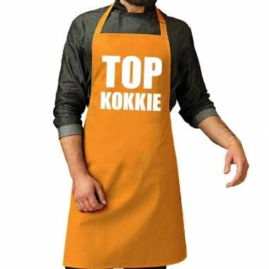 Goedkope top kokkie barbecue schort / keukenschort oker geel heren