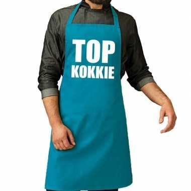 Goedkope top kokkie barbecue schort / keukenschort turquoise blauw he
