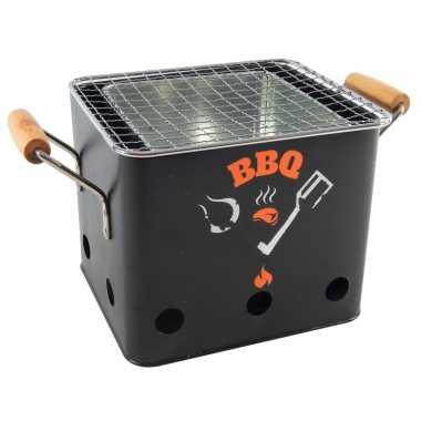 Goedkope zwarte barbecue/bbq tafelmodel 18 houtskool
