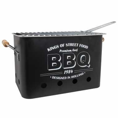 Goedkope zwarte barbecue/bbq tafelmodel 32 21 houtskool