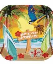 Goedkope 24x stuks hawaii thema party bordjes 23 barbecue