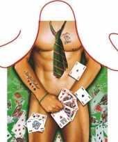 Goedkope funartikel schort strip poker man barbecue